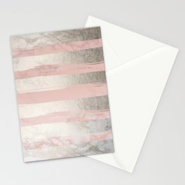 Rose Pastel Marble Stripes II Stationery Cards