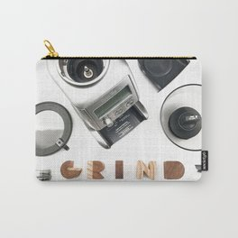 Grind // Exploded View Espresso Coffee Grinder Wood Block Typography Lettering Photograph Carry-All Pouch