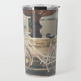 cycling across France on this pretty white bicycle Travel Mug