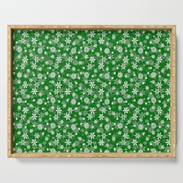 Festive Green and White Christmas Holiday Snowflakes Serving Tray
