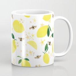 Lemons Blossoms and Bees Pattern Coffee Mug