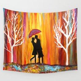 Romance in the Rain I romantic gift art Wall Tapestry