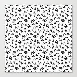 Modern geometric hand drawn minimalist black triangles pattern Canvas Print