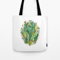 cacti Tote Bags featuring Cacti by Gaby D'Alessandro