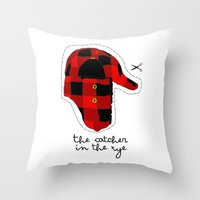 catcher in the rye Throw Pillows featuring Catcher in the Rye by Marianna