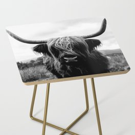 Scottish Highland Cattle Black and White Animal Side Table