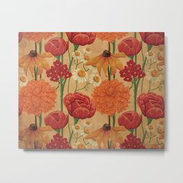 Kitschy Sunflower and Peony Bouquet in Autumn Palette Metal Print