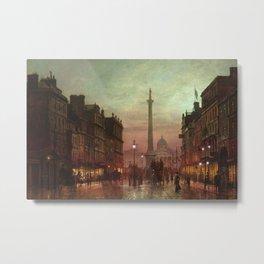 Trafalgar Square, Nelson's Column, London, England, Twilight by John Atkinson Grimshaw Metal Print