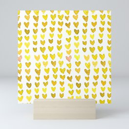 Brush stroke hearts - yellow Mini Art Print