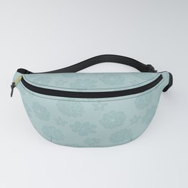 Succulent Blue Rosettes - Organic Pattern - Floral Line Drawing Fanny Pack