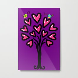 Two birds in love sitting on the tree, sketchy doodles Metal Print
