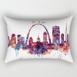 St Louis Watercolor Skyline Rectangular Pillow