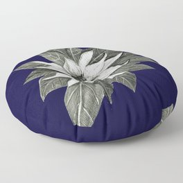 Florida Flower Navy Blue Background Floor Pillow