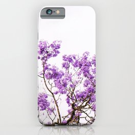 Purple jacaranda tree with palm tree leaves with a white sky iPhone Case