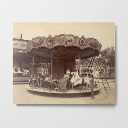 Vintage Carousel Photo - Paris, France, 1923 Metal Print