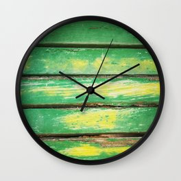 Photo of wooden texture in green and yellow for wallarts, furnitures, fashion items, tables. Wall Clock