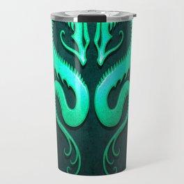 Teal Blue Twin Tribal Dragons Travel Mug