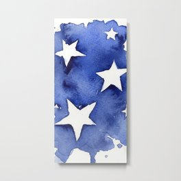 Stars Abstract Blue Watercolor Geometric Painting Metal Print