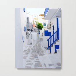 Beautiful Whitewashed Street Mykonos Greece Metal Print