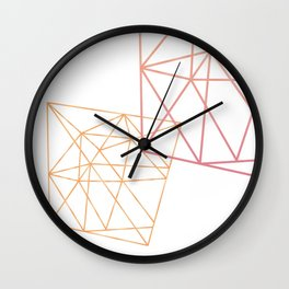 Rose and Gold Geometric Art Wall Clock