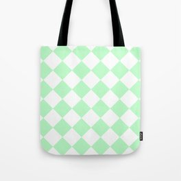 Large Diamonds - White and Mint Green Tote Bag