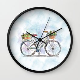 Spring Bicycle Watercolor with Flowers Wall Clock