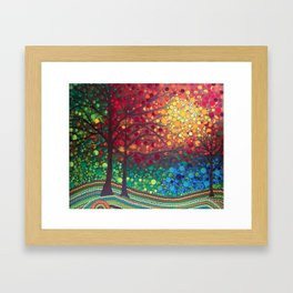 Winter sunset dot art by Mandalaole Framed Art Print