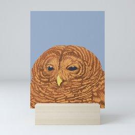 Owl- Brown and Blue  Mini Art Print
