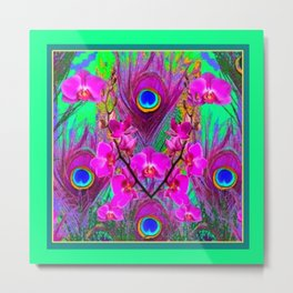 Green & Fuchsia Peacock Feathers Pink Orchid Patterns Art Metal Print