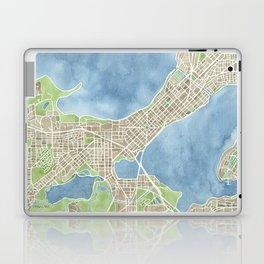 City Map Madison Wisconsin watercolor  Laptop & iPad Skin