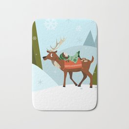 Christmas deer and elf Bath Mat