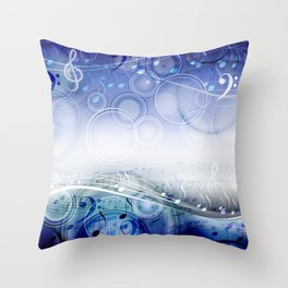 Abstract sheet music design background with musical notes Throw Pillow