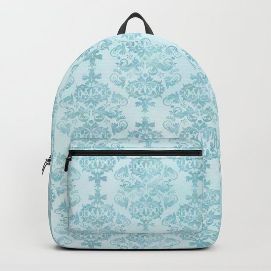 Blue Turquoise Damask Watercolor Baroque Pattern Backpack