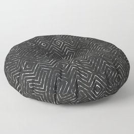 Abstract Geometric Tile Pattern in Black Floor Pillow