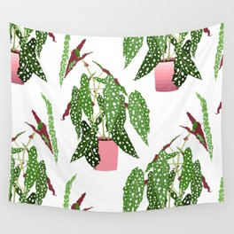 Simple Potted Polka Dot Begonia Plants in White Wall Tapestry