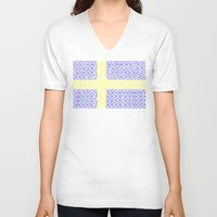 sweden V-neck T-shirts featuring digital Flag (Sweden) by seb mcnulty