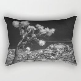 Joshua Trees and Boulders in Infrared Black and White at Joshua Tree National Park California Rectangular Pillow