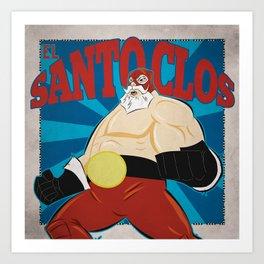 El Santo Clos- Lucha Libre Santa Claus Art Print
