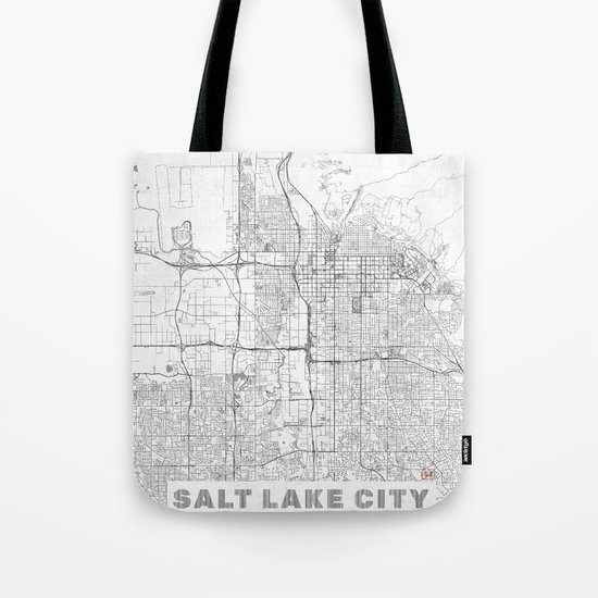 Salt Lake City Map Line Tote Bag
