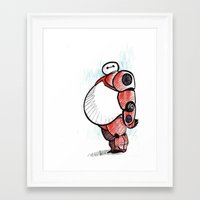 baymax Framed Art Prints featuring BAYMAX  by UBIQUITOUS