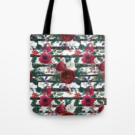 Festive Red Floral Arrangement on White with Black Stripes  Tote Bag