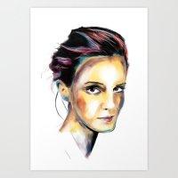 emma watson Art Prints featuring Emma Watson by caffeboy
