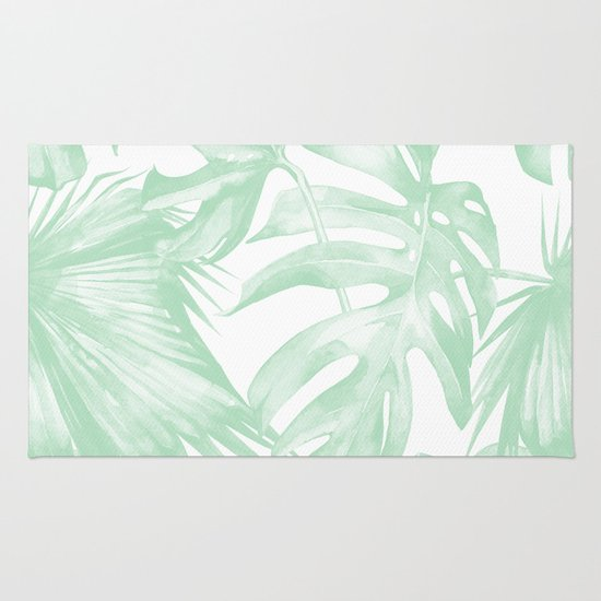 Light Green Tropical Palm Leaves Print Rug By Simple Luxe