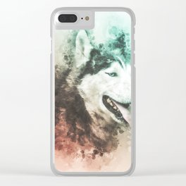 Siberian Husky Digital Watercolor Painting Clear iPhone Case