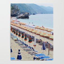Cinque Terre beach parasols Poster
