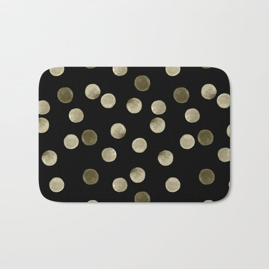 Watercolor . Olive green polka dots on black . Bath Mat
