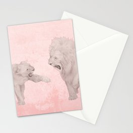 Lion and Lioness Dating Love Couple Walking Stationery Cards