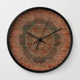 Bohemian Medallion I // 15th Century Old Distressed Red Green Colorful Ornate Accent Rug Pattern Wall Clock