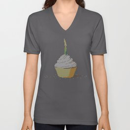 Happy Birthday Cupcake in a Real Cross Stitch Pattern - Color Coded Chart - Wearable Fiber Art Patte Unisex V-Neck