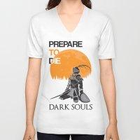 dark souls V-neck T-shirts featuring Dark Souls by billydragon77
